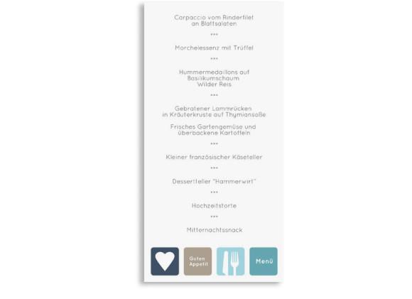 Menükarte Hochzeit Kreta, Rückseite der Farbversion: dunkelblau