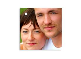 Geschenkanhänger Pur (quadratisch) Beige/Weiß