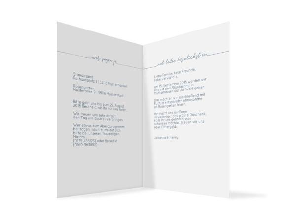 Hochzeitseinladung  Warschau, Klappkarte A6 hoch, Innenansicht in dunkelblau