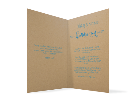 Einladung zur Kommunion (Klappkarte A6), Motiv: Blumenkranz Natural, Innenansicht, Farbvariante: blau