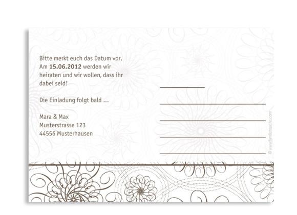 Rückseite, Einladungs-Postkarte zur Hochzeit, Motiv Mandala, Farbversion: beige