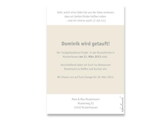 Rückseite, Postkarte zur Taufe, Motiv Dolores/Dominik, Farbversion: beige