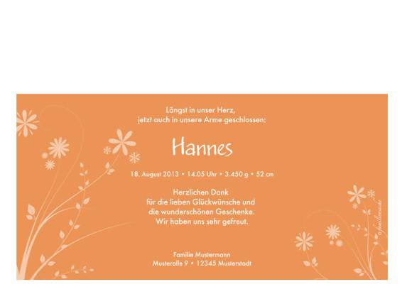 Rückseite, Postkarte zur Geburt, Motiv Helene/Hannes, Farbversion: apricot