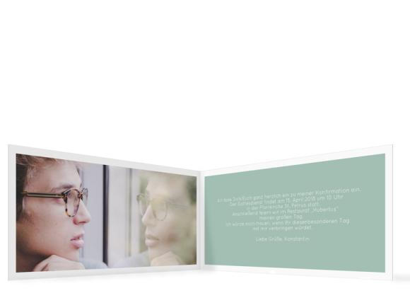 Konfirmationseinladung (Klappkarte DL quer mit einem Foto), Motiv: Licht, Innenansicht, Farbvariante: guen
