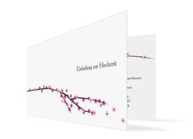 Hochzeitseinladung Yokohama (Klappkarte, ohne Foto) Pink