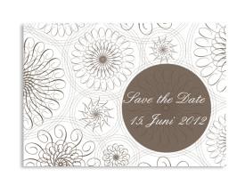 Save-The-Date-Hochzeitskarte Mandala (Postkarte A6) Beige