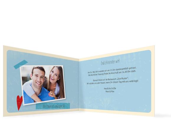 Einladung zur Hochzeit Vintage Heart, Innenansicht, Farbversion: blau