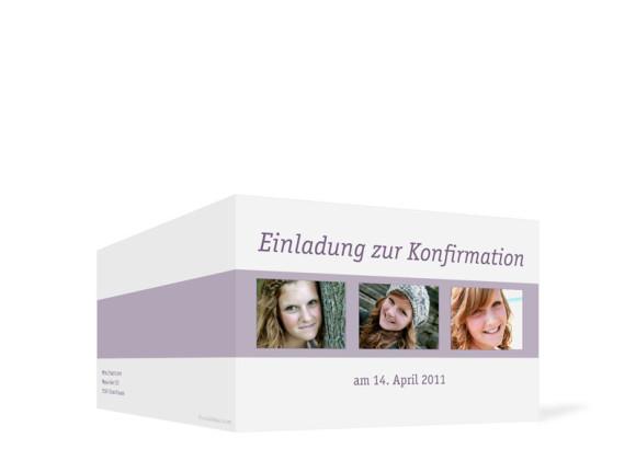 Außenansicht, Einladung zur Konfirmation, Motiv Jette/Jannik, Farbversion: flieder