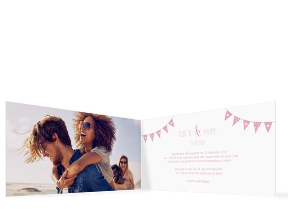 Einladungskarten Hochzeit (Klappkarte DL quer), Motiv: Malmö, Innenansicht, Farbvariante: rosa