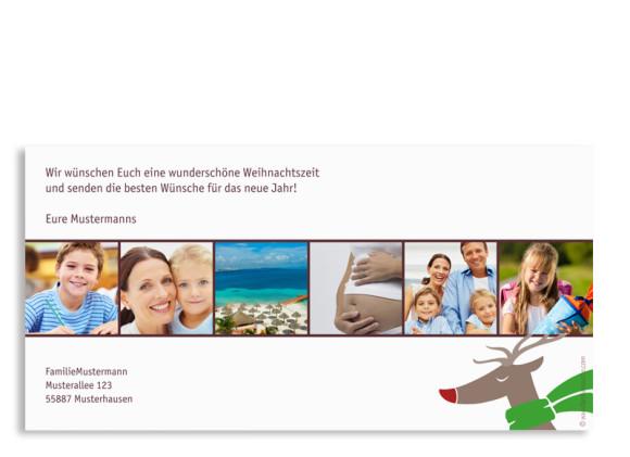 Rückseite, Weihnachts-Postkarte, Motiv Jahresrückblick, Farbversion: bordeaux
