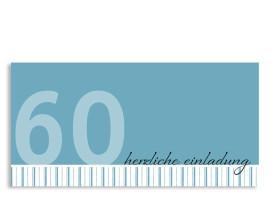 Einladung zum 60. Geburtstag Stripes 2 (Postkarte) Blau