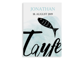 Taufkarten als Einladung Fisch aqua