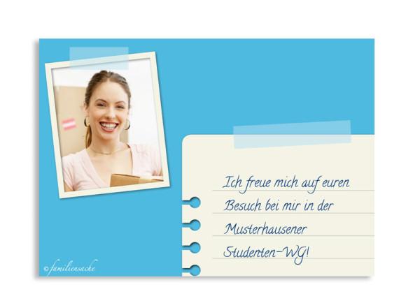 Umzugskarten Notiz, Rückseite der Farbversion: blau