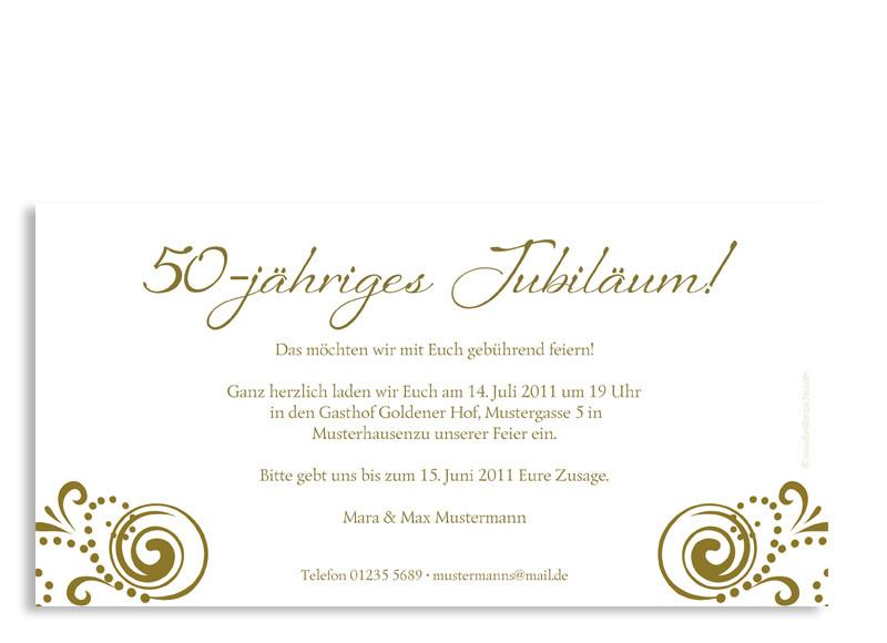 Einladung Goldhochzeit Goldene Zeiten (Postkarte); Rückseite,  Einladungs Postkarte Zur Goldhochzeit, Motiv Goldene Zeiten, Farbversion:  Beige