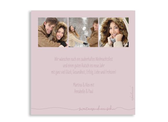 Foto-Weihnachtskarte (Postkarte, quadratisch, sechs Fotos), Motiv: Fröhliche Weihnachten, Rückseite, Farbvariante: altrosa