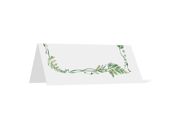 Tischkarten (personalisiert), Motiv: Farn, Rückseite, Farbvariante: blau