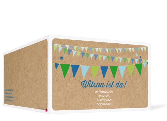 Geburtskarten, Motiv Wilma/Wilson, Außenansicht, Farbversion: blau/grün