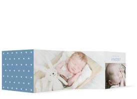 Geburtskarte Leporello Valentina/Vincent blau