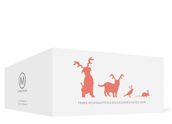 Firmen-Weihnachtskarte Haustiere (Klappkarte), Außenansicht in der Farbvariante: apricot