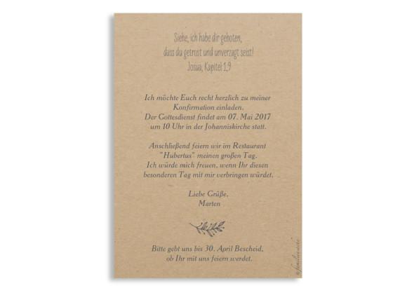Einladungskarten zur Konfirmation, Motiv Nature, Postkarte A6, Rückseite, Farbversion: grau