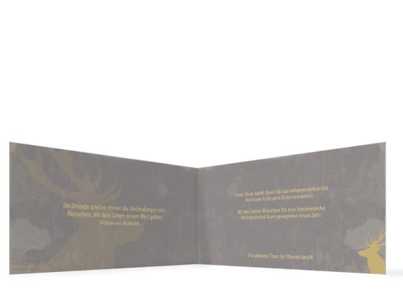 Weihnachtskarten für Unternehmen Holy Moose, Innenansicht in Grau