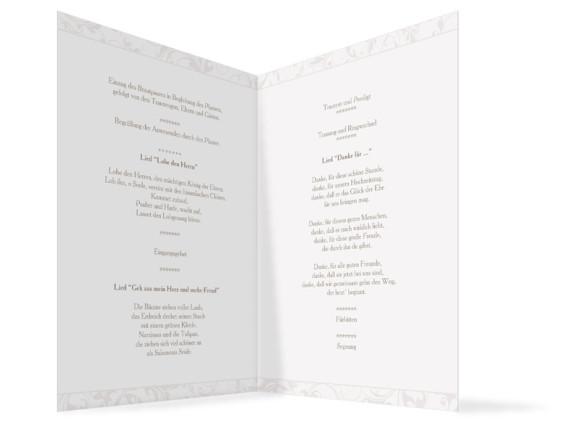 Innenansicht, Klappkarte zur Hochzeit (Kirchenheft), Motiv Dubai, Farbversion: beige