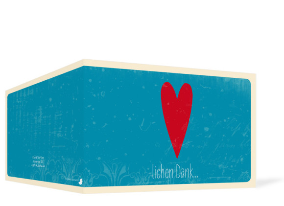 Hochzeitsdanksagung, Vintage Heart, Außenansicht, Farbversion: blau