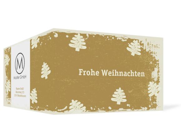 Außenansicht, Firmen-Weihnachtskarte Tannen mit Firmenlogo, Farbversion: creme