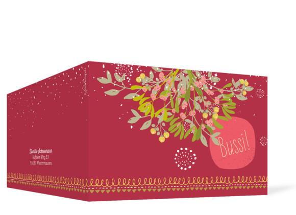 Weihnachtsgrußkarten Mistelzweig mit Bild, Außenansicht in Rot