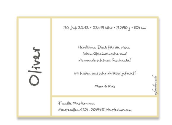 Rückseite, Postkarte zur Geburt, Motiv Olivia/Oliver, Farbversion: beige