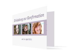 Einladung Jette/Jannik zur Konfirmation (Klappkarte C6) Flieder