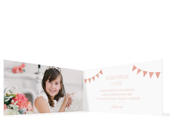Danksagungskarte zur Kommunion (Klappkarte im Format DIN Lang), Motiv: Frühlingsfrisch, Innenansicht, Farbvariante: Apricot