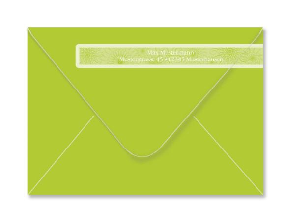 Umschlag Rückseite, Adressbanderole, Motiv Mandala, Farbversion: apfelgrün