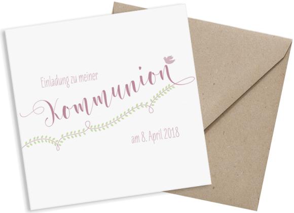 Kommunionseinladung (Postkarte quadratisch), Motiv: Lorbeerblatt, mit Briefhülle, Farbvariante: altrosa