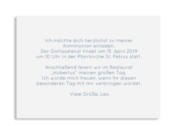 Einladung zur Kommunion (Postkarte A6 ohne Foto), Motiv: Zweig, Rückseite, Farbvariante: dunkelblau