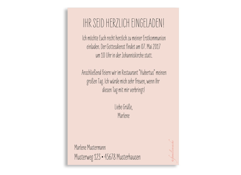 erstkommunion einladungstext