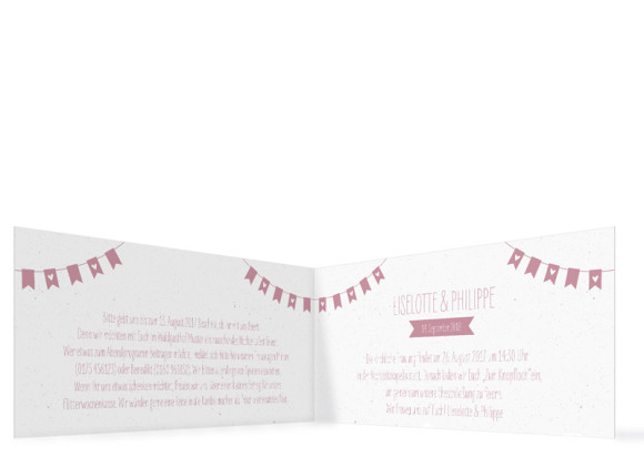 Einladung zur Hochzeit Wimpelkette ohne Foto (Klappkarte DL), Innenansicht in altrosa