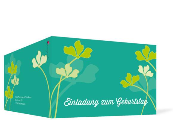 Einladungen zum Geburtstag Growing Fresha ohne Foto, Außenansicht der Farbversion: grün/türkis