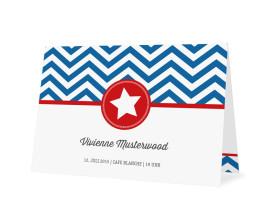 Einladungen Hamptons Star (Klappkarte Öffnung unten) Blau/Rot