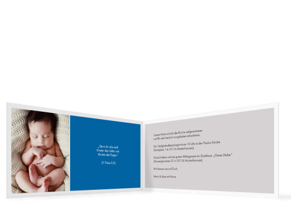 Einladungen zur Taufe Nora/Neo, Innenansicht der Farbversion: blau