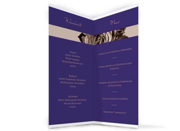 Innenansicht, Menükarte zur Hochzeit (Klappkarte), Motiv Delhi, Farbversion: blau