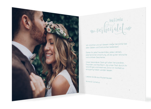 Hochzeitsdanksagungen (quadratische Klappkarte, mit Foto), Motiv: Blumenkranz, Innenansicht, Farbvariante: tuerkis