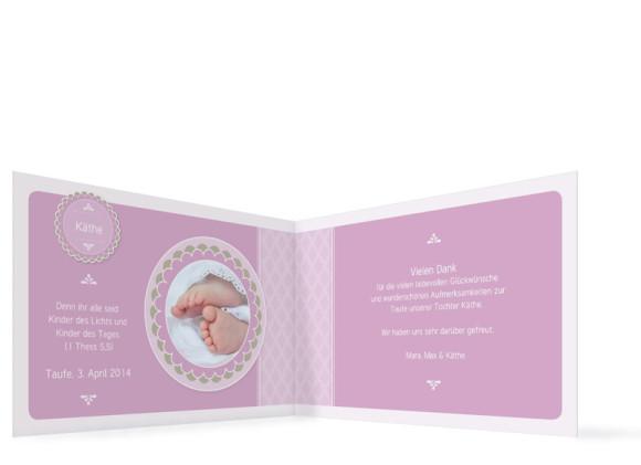 Innenansicht Dankeskarte Käthe/Klaas zur Taufe, Farbversion: flieder