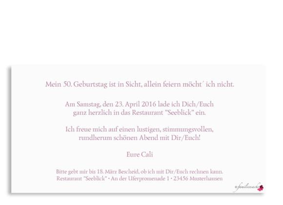 Einladung, Motiv Calligraphy 50, Rückseite, Farbversion: Brombeer