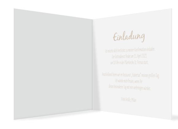 Einladung Konfirmation (300 x 150 mm), Motiv: Segen, Innenansicht, Farbvariante: beige