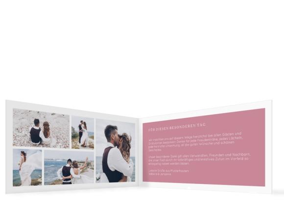 Hochzeitsdanksagungen  (Klappkarte mit fünf Fotos), Motiv: Porto, Innenansicht, Farbvariante: altrosa