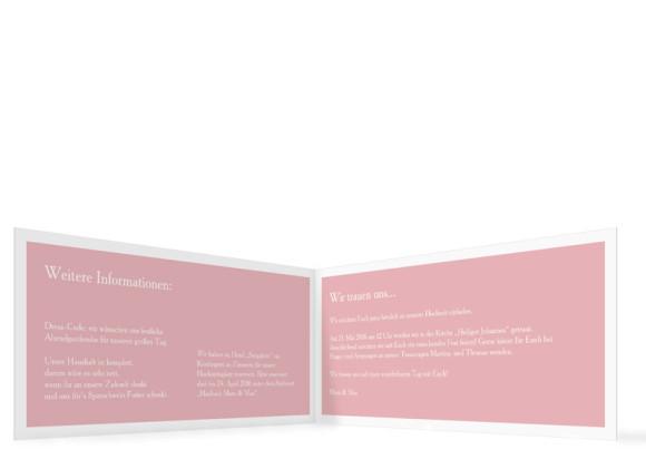 Hochzeitseinladung Nizza, Klappkarte DIN Lang, Innenansicht, Farbversion: puder