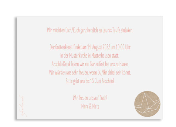 Taufeinladung (Postkarte A6), Motiv: Mare, Rückseite, Farbvariante: apricot