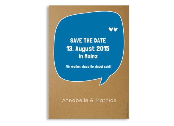 Save the Date Karten Sprechblase, Rückseite der Farbversion: blau