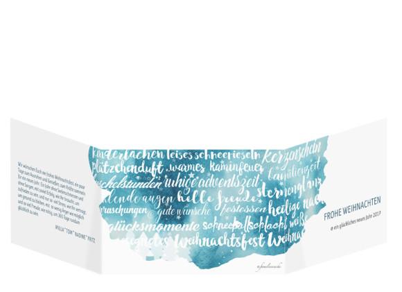 Weihnachtsgrußkarte Skript online gestalten, Außenansicht in Petrol